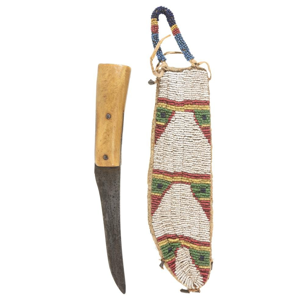 Sioux Beaded Hide Knife Sheath with W. Greaves and Sons