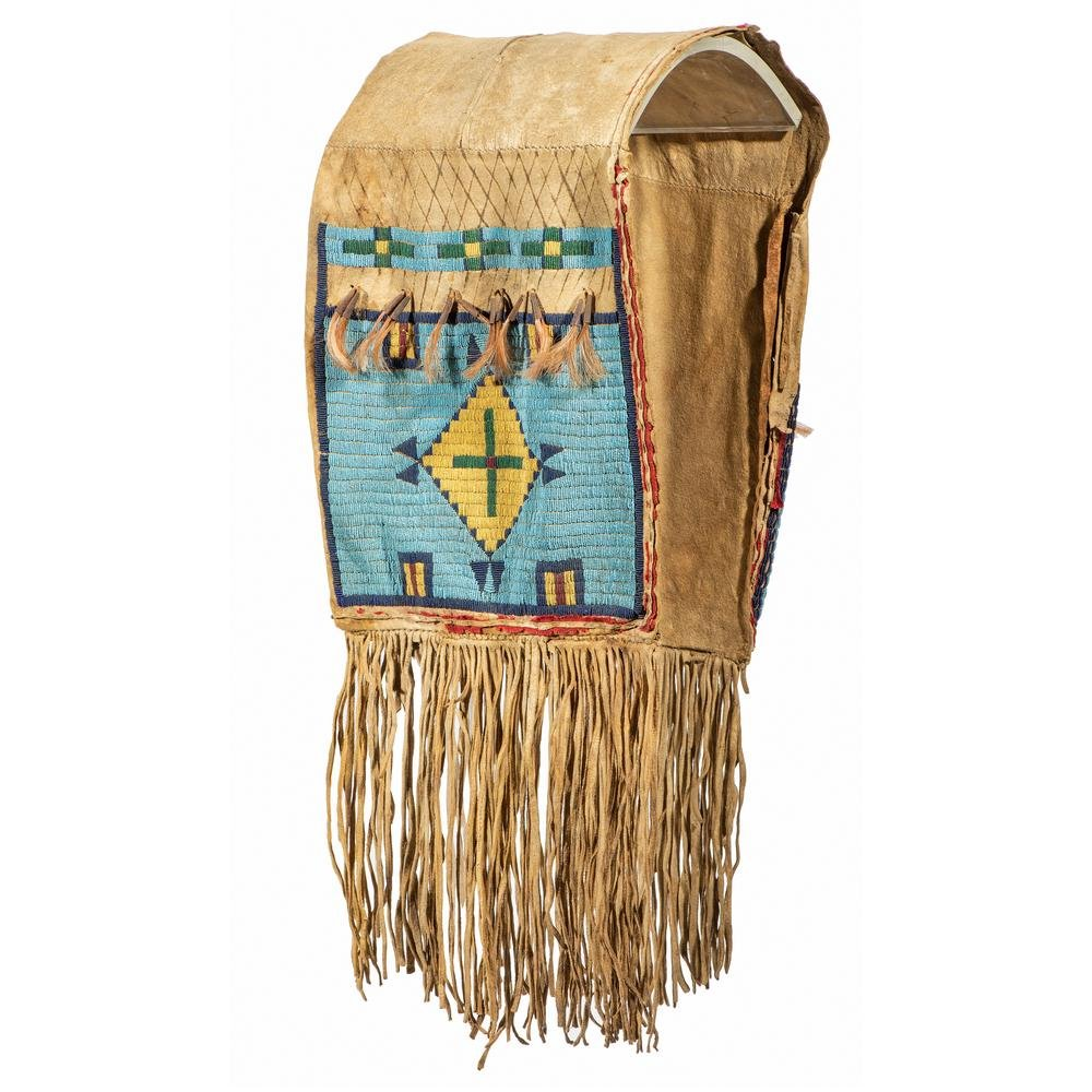 Sioux Beaded Buffalo Hide Saddle Bags, From the James