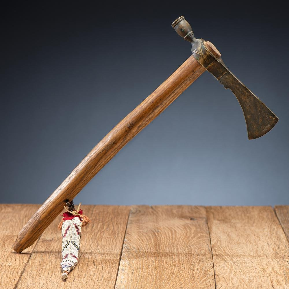 Plains Pipe Tomahawk with Beaded Hide Drop, From the