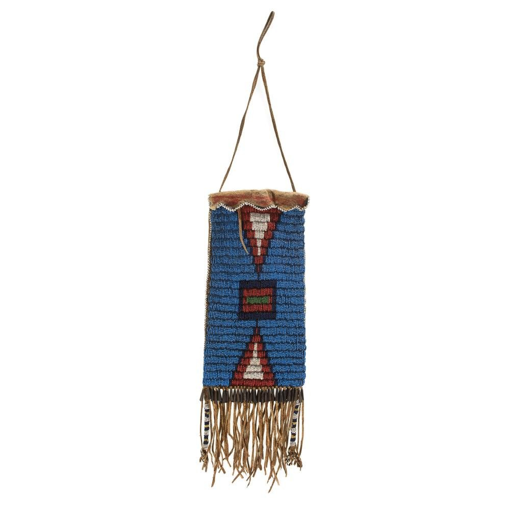 Sioux Beaded Hide Mirror Bag, From the James B.