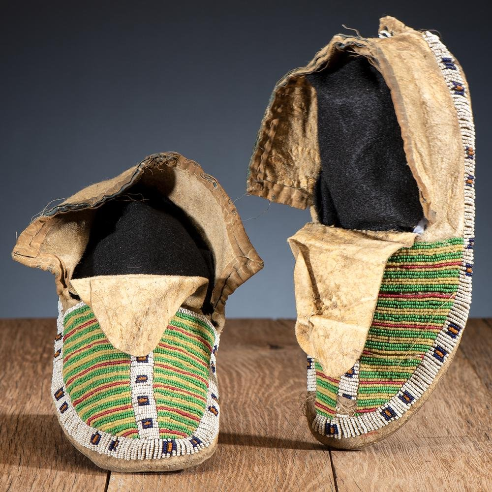 Sioux Beaded Hide Moccasins, From the James B. Scoville