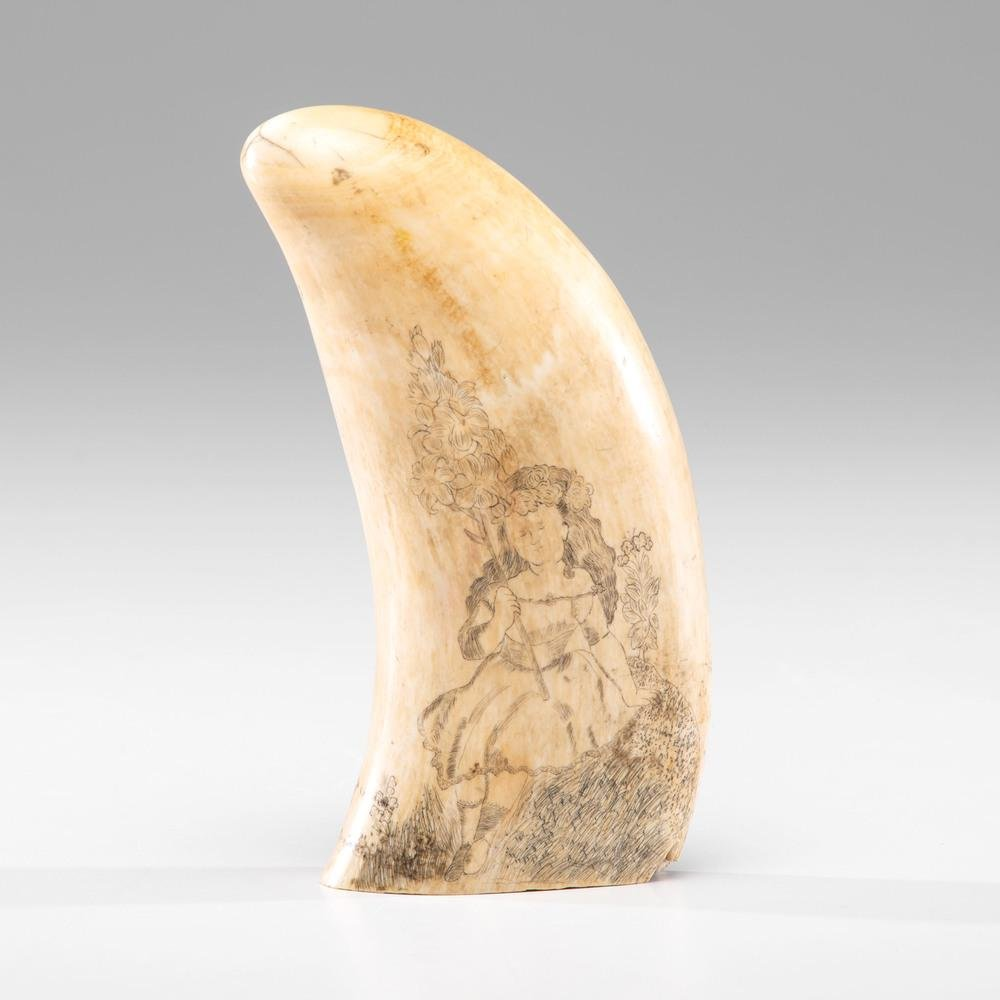 Scrimshaw Whale's Tooth with Young Girl