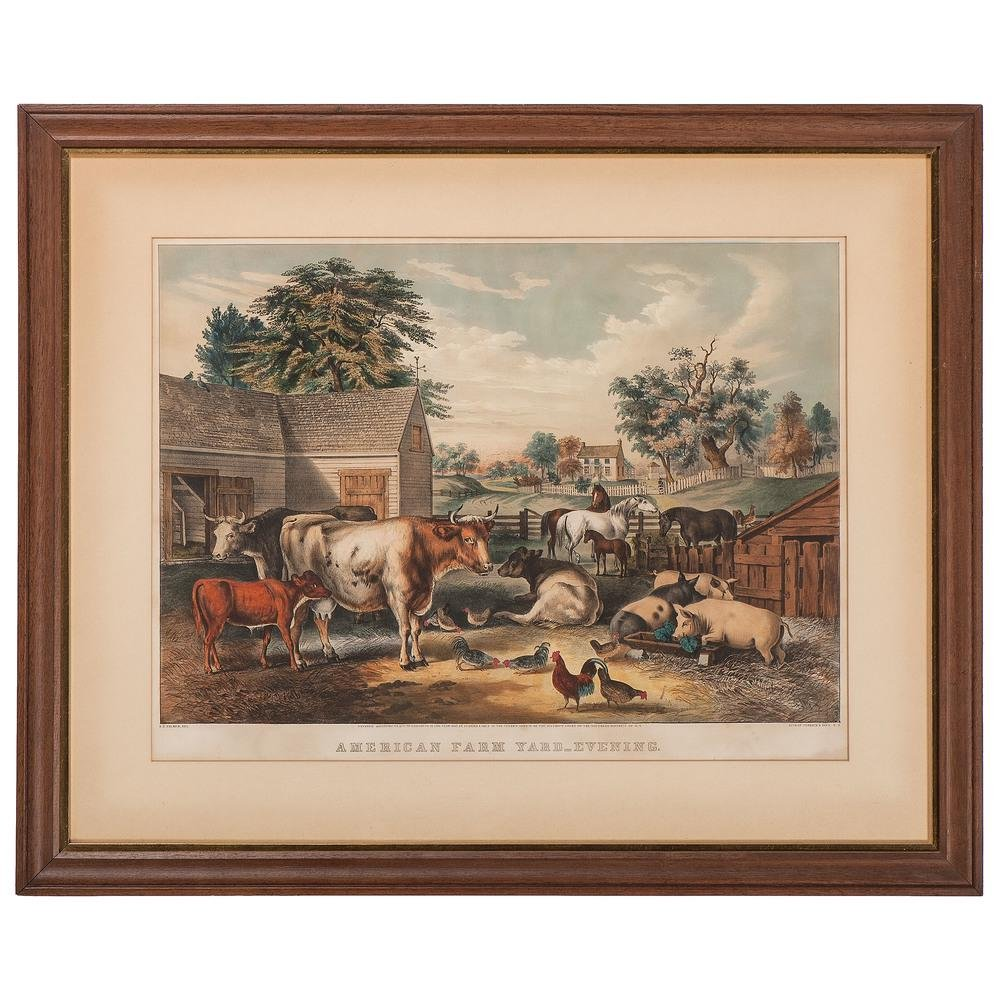 Currier and Ives Hand-Colored Lithographs, American
