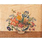 Theorem on Velvet with Oriental Bowl Flowers and
