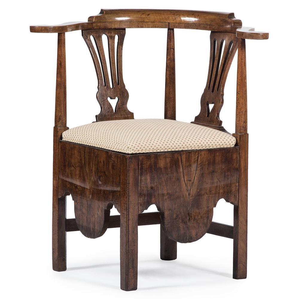 George II Walnut Corner Chair