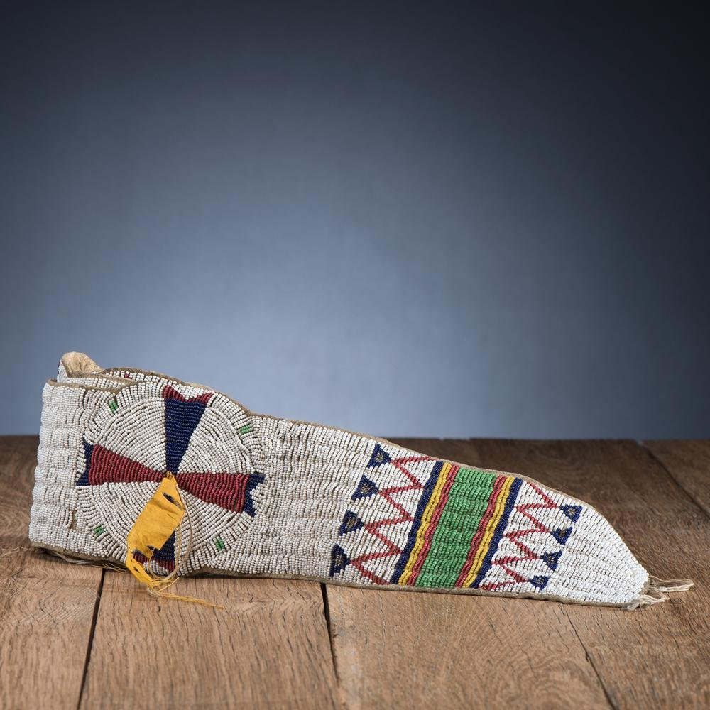 Sioux Beaded Hide Blanket Strip, From the Stanley B.