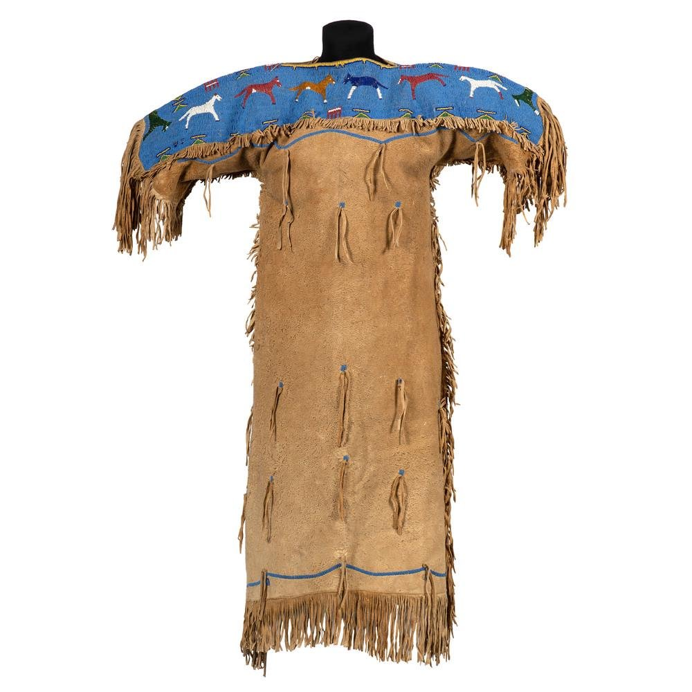 Shoshone Wind River Beaded Hide Dress, with Horses,