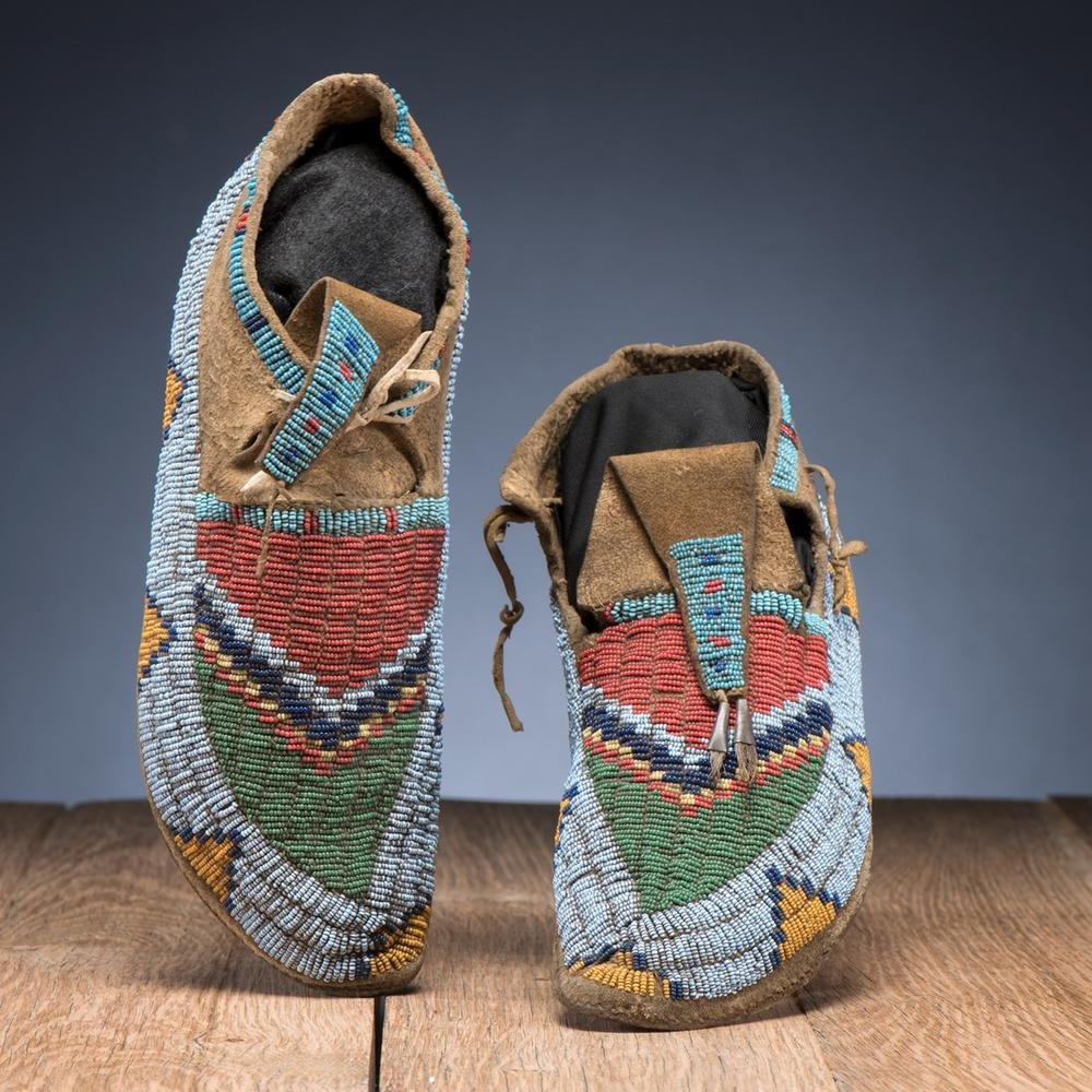 Sioux Beaded Hide Moccasins, From the Stanley B. Slocum
