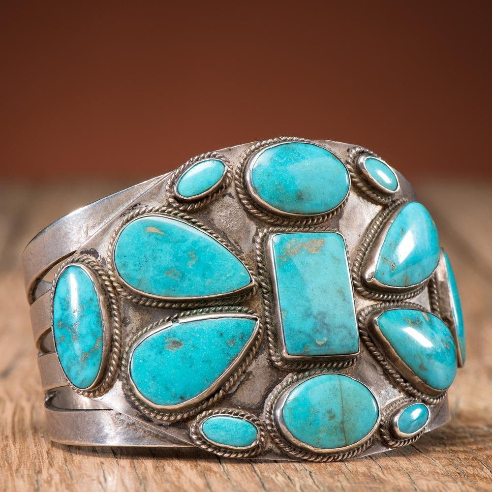 Navajo Silver and Turquoise Cuff Bracelet, Proceeds to