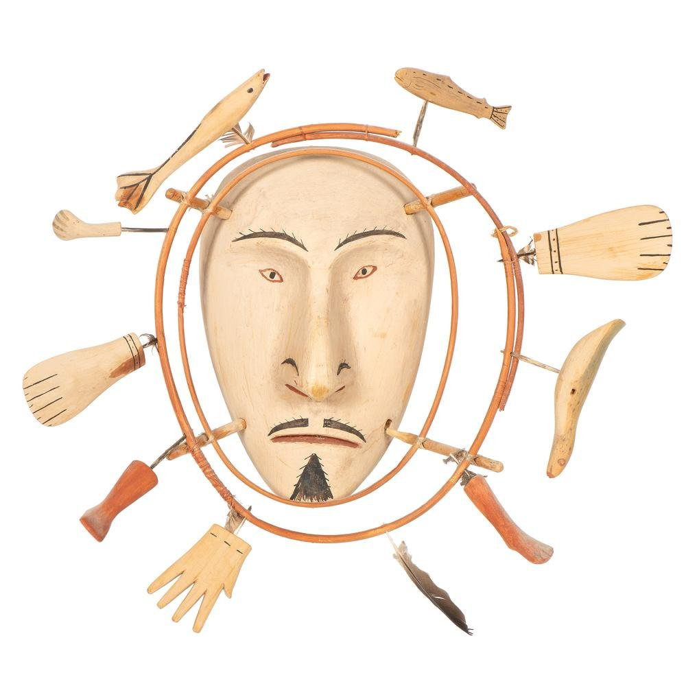 Nunivak Island Inua Painted Wood Mask, From the William