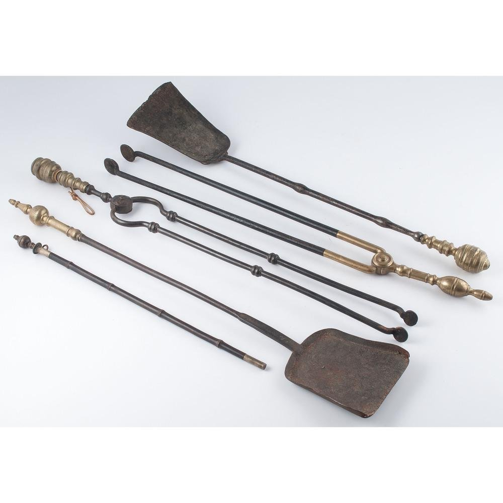 Cast Iron and Brass Fireplace Tools