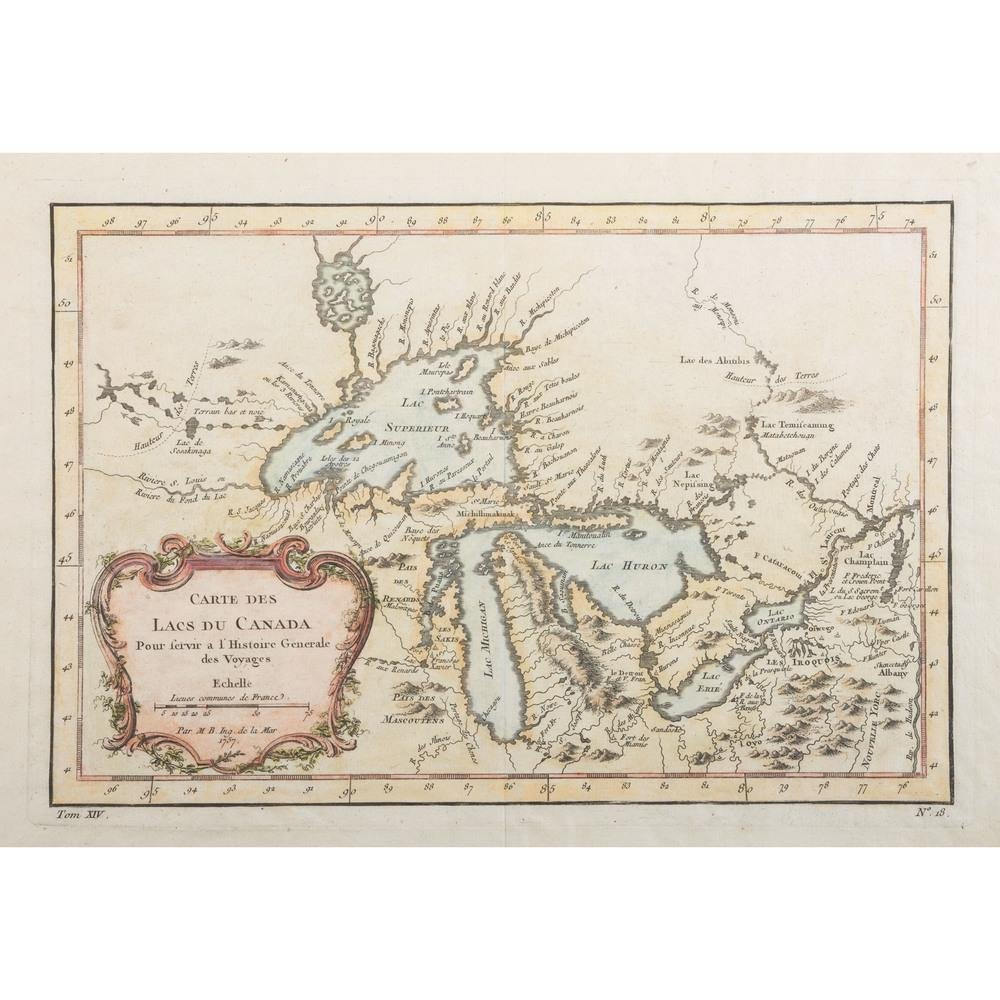 Bellin's Map of Canada and the Great Lakes Region, 1757