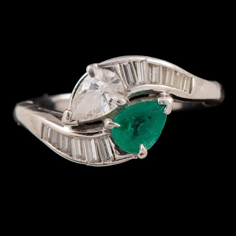 Cartier Platinum Diamond and Emerald Ring