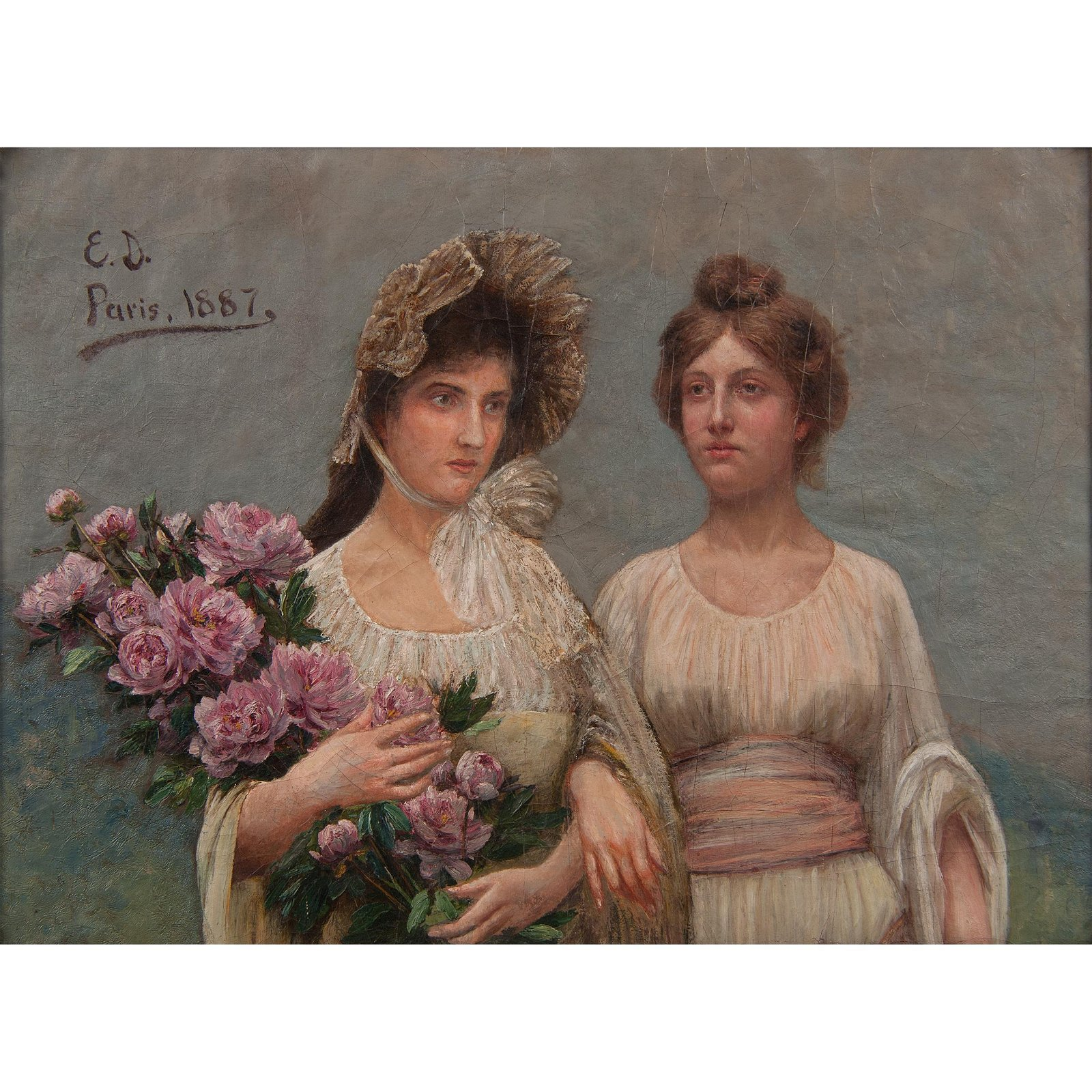 Portrait of Marie and Helene Brusseau, Signed  E.D.