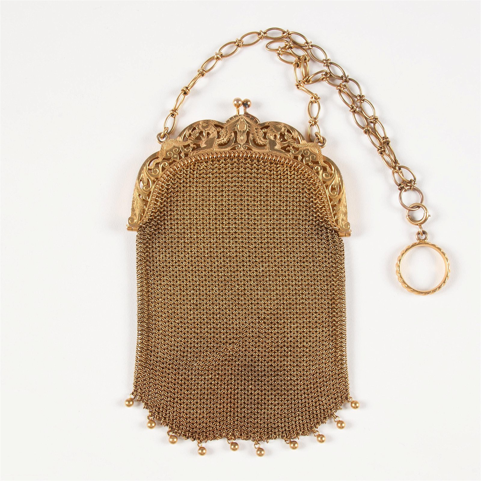 14K Yellow Gold Mesh Purse