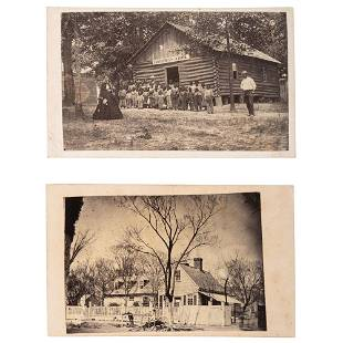 JD Heywood CDVs of Freedmens School and Office and