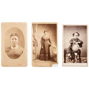 Rose Jackson and her Son Trio of CDVs Oregon ca 1868