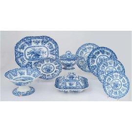 Spode Blue & White Service, Basket of Flowers