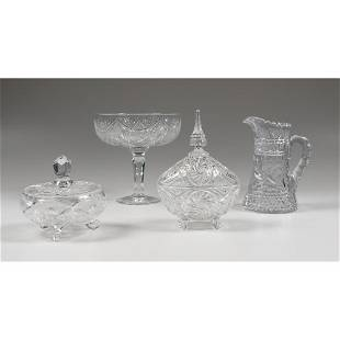 Cut Glass Covered Dishes and Pitcher Plus