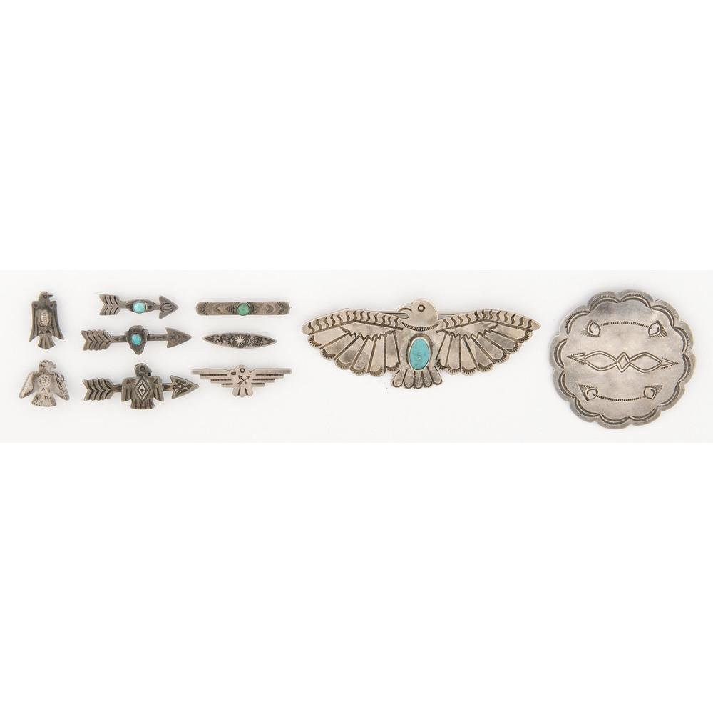 Navajo Silver and Turquoise Thunderbird and Arrow Pins