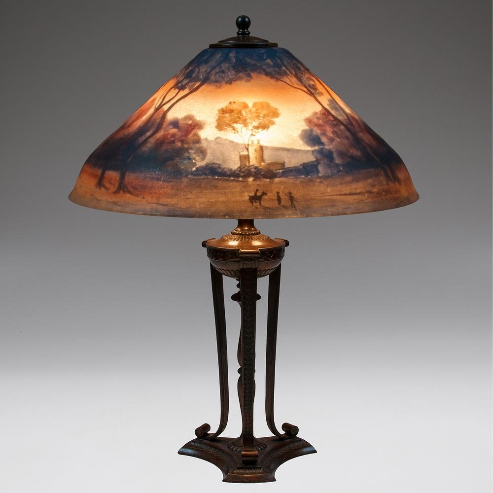 A Pairpoint Reverse-Painted Table Lamp