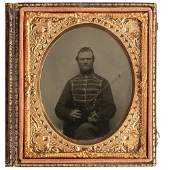 Sixth Plate Tintype of Infantry Musician with Violin