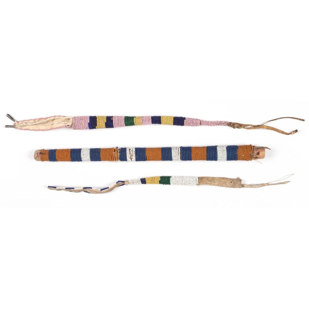 Northern Plains Beaded Quirt and Awl Cases