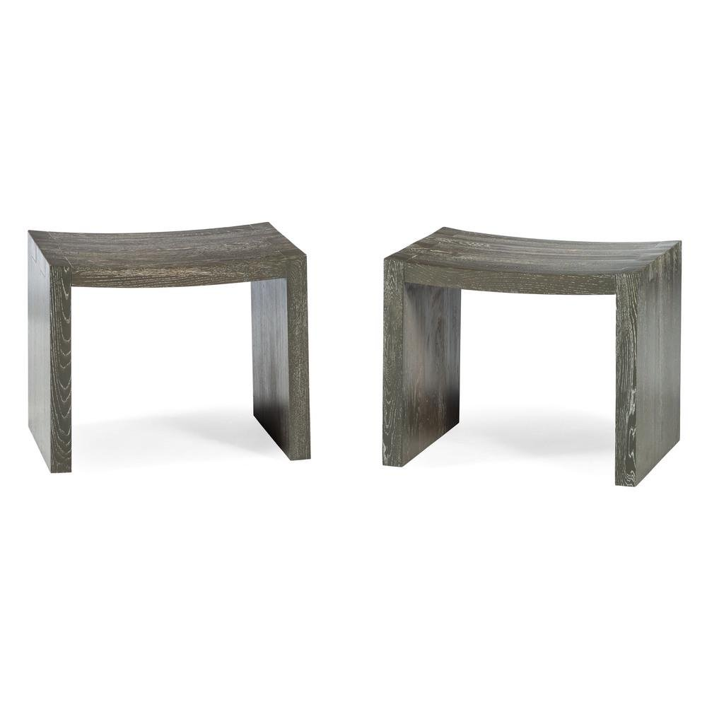 A Pair of Modernist Cerused Oak Stools