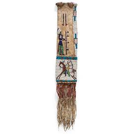 Sioux Elk Dreamer Society Beaded Hide Tobacco Bag, From
