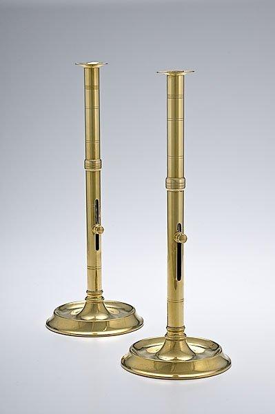 7: Pair of Rare English Brass Side Push-up Candlesticks