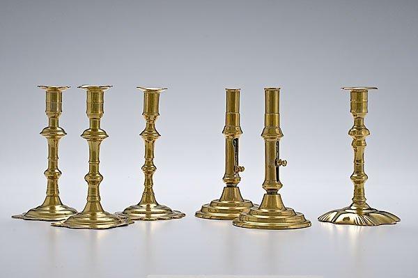 8: Six 18th Century English Brass Candlesticks,