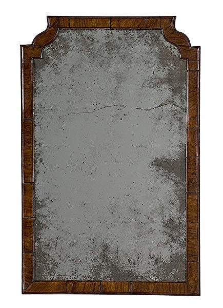 16: Walnut Queen Anne-Style Looking Glass,