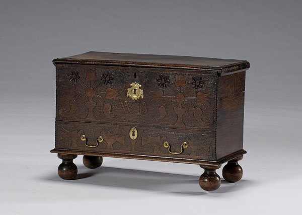19: Valuables Box with Carved Decoration of Tulips & Bi