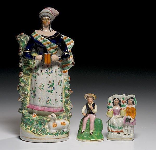 21: Three Staffordshire Figures,