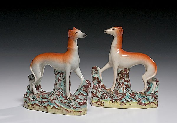 22: Pair of Staffordshire Whippet Mantel Ornaments,