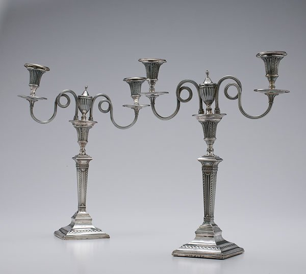 24: Pair of George III Silver Table Candlesticks,