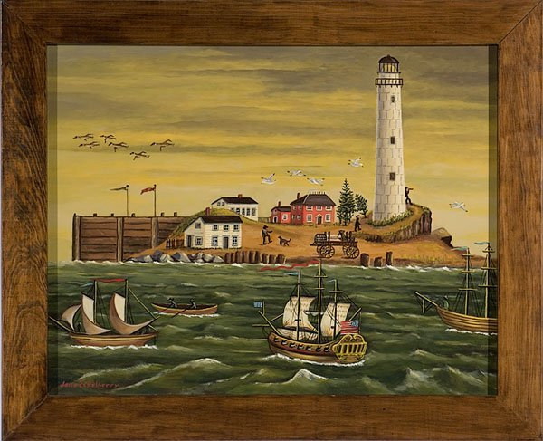 263: Contemporary Folk Art Painting by Jane Eckelberry,