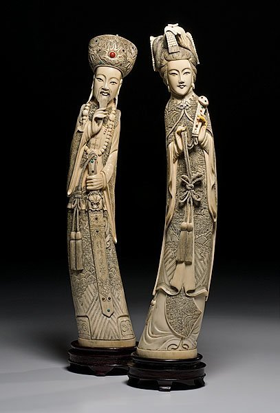 522: Pair of Asian Ivory Tusk Figures,