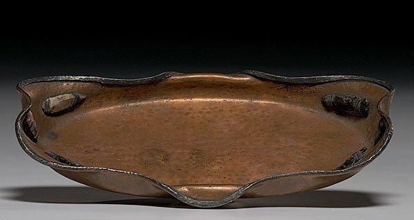 605: Arts & Crafts Copper & Silver Decorated Dresser Tr