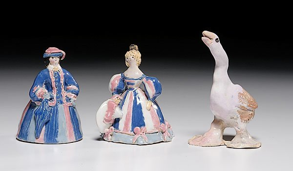 608: Three Overbeck Pottery Figures,