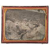 Half Plate Daguerreotype of a California Gold Mining