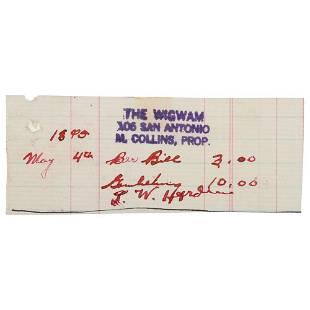 John Wesley Hardin Signed Wigwam Saloon Tab