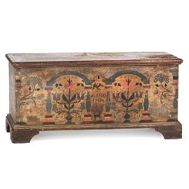 A Chippendale Berks County Painted Pine Blanket Chest