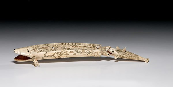 1: Nunivak Island Carved Ivory Cribbage Board,