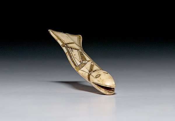 2: Nunivak Island Carved Walrus Ivory Fish,