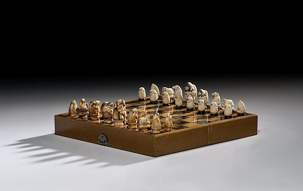 4: Eskimo Carved Walrus Ivory Chess Set,