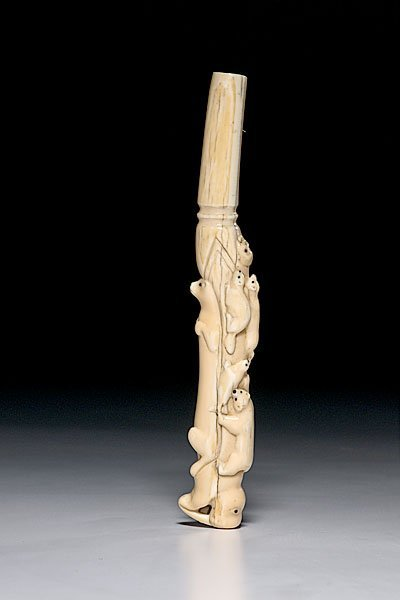 12: Eskimo Carved Walrus Ivory Umbrella Handle,
