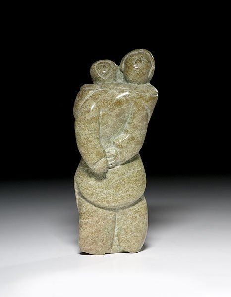17: Eskimo Carved Soapstone Mother and Child Attributed