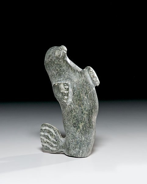 18: Eskimo Carved Soapstone Dancing Seal,