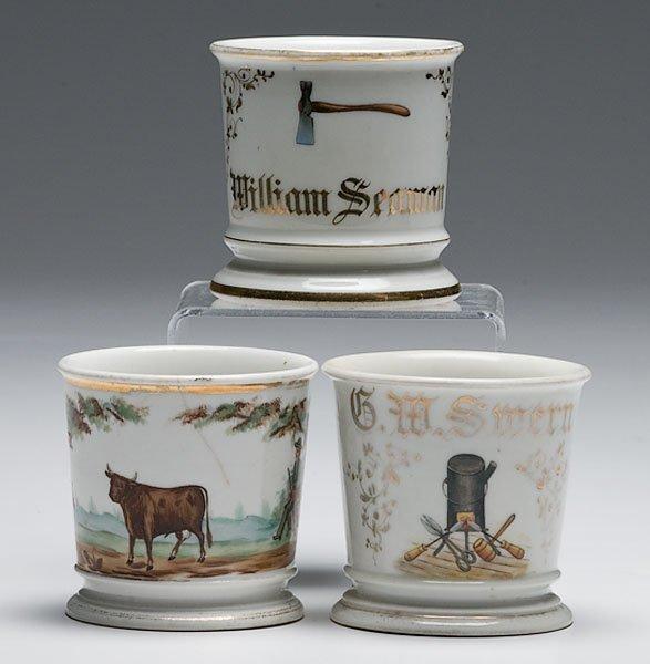 17: Three Occupational Shaving Mugs, Woodsman, Tinsmith